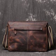 Black Cool Leather 13 inches Small Satchel Messenger Bag Side Bag Courier Bag For Men