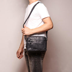 Black Leather Small Zipper Messenger Bag Courier Bag Brown Postman Bag For Men