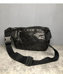 Black Cool Leather Men Fanny Pack Coffee Waist Bag Hip Pack Chest Bag Belt Bag Bumbag for Men