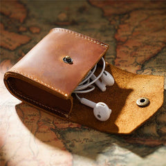 Black Small Card Holder Leather Men's Wallet Coin Holder Brown Charge Holder Small Wallet For Men