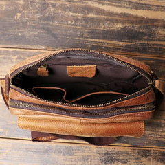 Black LEATHER MEN'S Small Side bag Brown Side Bag MESSENGER BAG Brown Courier Bag FOR MEN