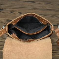 LEATHER MEN'S Small Side bag Brown Side Bag Mini MESSENGER BAG Courier Bag FOR MEN