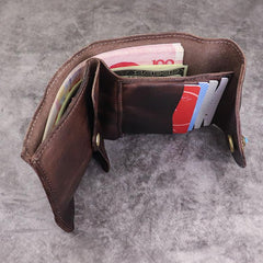 Vintage Mens Black Leather Billfold Leather Slim Wallets for Men Small Wallets for Men