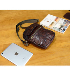 Cool Black Leather Men Small Vertical Messenger Bags Brown Side Bag Courier Bag For Men