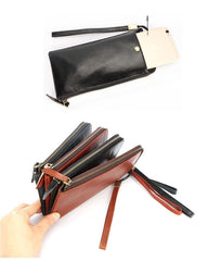 Black Leather Mens Long Wallet Zipper Clutch Wallet Brown Wristlet Long Wallet For Men