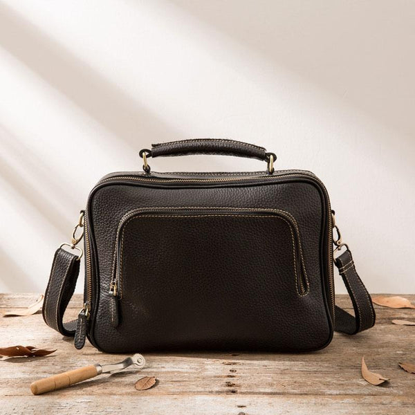 Black Leather Mens Briefcase Work Bag Laptop Bag Business Bag for Men
