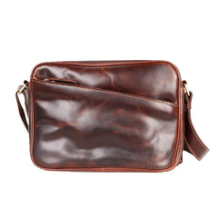 Black Leather Mens Casual Small Courier Bags Messenger Bag Amber Brown Postman Bags For Men
