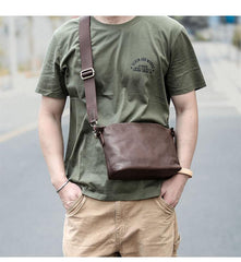 Brown Leather Mens Casual Small Courier Bags Messenger Bag Black Postman Bag For Men
