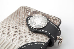 Black Leather Mens Long Biker Wallet Bifold Snake Skin Long Wallet Biker Chain Wallet For Men