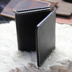 Black Leather Mens Slim Front Pocket Bifold Small Wallets Card Wallet for Men