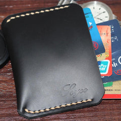 Black Leather Mens Slim Front Pocket Wallet Leather Small Wallets  for Men
