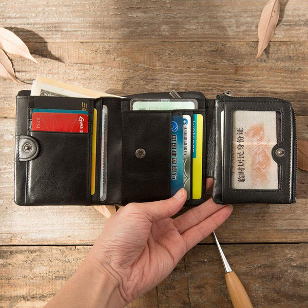 Black Leather Mens Small Wallets Trifold Vintage billfold Wallet for Men