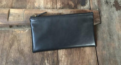 Black Mens Leather Zipper Slim Long Wallet Phone Long Wallet for Men
