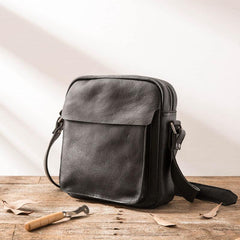 Black Small Leather Mens Shoulder Bags Messenger Bags for Men