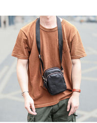 Black Vintage Leather Mens Small MIni Postman Shoulder Bag Phone Messenger Bag For Men