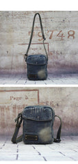 Blue Denim Mens Casual Small Vertical Messenger Bag Jean Side Bag Courier Bag For Men