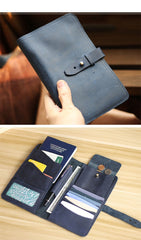 Blue Handmade Leather Mens Passport Wallet Travel Wallet Ticket Holder For Men