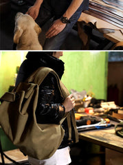 Khaki Canvas Mens Large Backpack Travel Backpack Canvas Barrel Backpack Bucket Backpack For Men