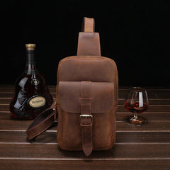 Brown Cool LEATHER MENS Sling Bags One Shoulder Backpack Dark Coffee Chest Bag For Men