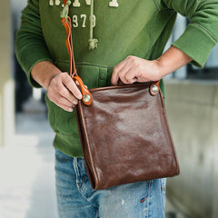 Casual Coffee Leather Men Vertical Side Bag Green Small Messenger Bag Camouflage Courier Bag For Men
