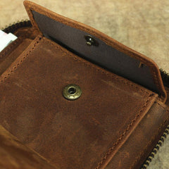 Brown Leather Men Billfold Wallet Leather Black Vertical Bifold Wallet with Coin Pockets For Men