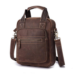 Vintage Brown Leather Mens Vertical Work Bag Handbag Vertical Briefcase Shoulder Bag For Men
