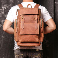 Brown Mens Leather 15 inches Large School Laptop Backpack Brown Travel Backpacks for Men