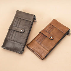 Brown Leather Long Wallet for Men Bifold Checkbook Wallet Card Holders Wallet For Men