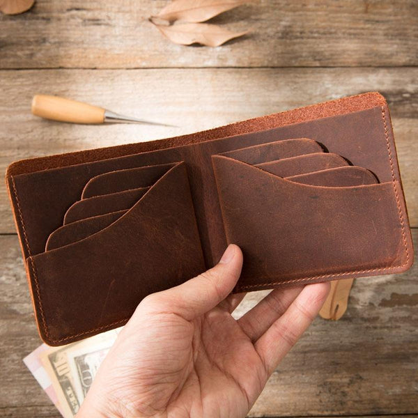 Brown Cool Leather Mens Small Wallet Bifold Vintage Slim Short Wallet for Men