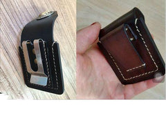 Coffee Handmade Leather Mens Classic Zippo Lighter Case Zippo Lighter Holder with Belt Loop for Men