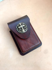 Cool Brown Leather Cigarette Case with Lighter Holder Cigarette Case Holder For Men