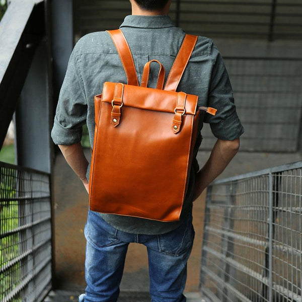 Brown Leather Mens Backpack Travel Backpacks Laptop Backpack for men