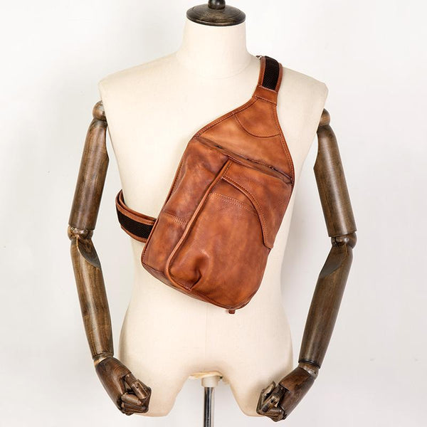 Cool Brown Leather Mens 8 inches Sling Bag Sling Pack Crossbody Pack Chest Bag for men