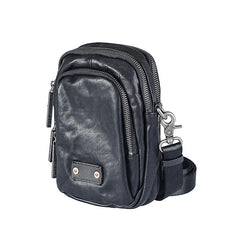 CASUAL BLACK LEATHER MEN'S MIni Vertical Side Bags MESSENGER BAG BLACK Belt Bag Blet Pouch FOR MEN