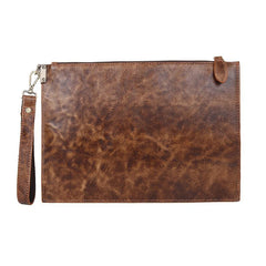 COOL MENS LEATHER ZIPPER LONG CLUTCH WALLETS ZIPPER VINTAGE Brown  Wristlet WALLET FOR MEN