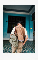 Canvas Mens 14 inches Side Bags Canvas Satchel Messenger Bags Canvas Travel Courier Bag for Men