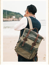 Canvas Leather Mens Backpack 15 inches Travel Green Backpacks Satchel Backpack Canvas School Backpack for Men