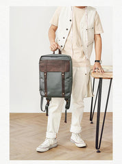 Canvas Leather Mens Backpack Canvas Khaki Travel Backpack Laptop Satchel Backpack for Men