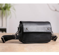 Casual Black Small Leather MENS Side Bag Black Small Messenger Bag Leather Courier Bag For Men