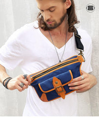 Casual Blue Nylon Leather Fanny Pack Men's Chest Bag Hip Bag Waist Bag For Men