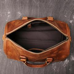 Casual Brown Leather Men's Small Overnight Bag Travel Bag Luggage Brown Weekender Bag For Men