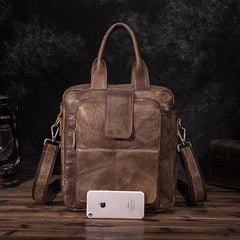 Brown Leather Mens Vertical Briefcase Work Bag Handbag Vertical 10 inches Shoulder Bags Business Bags For Men