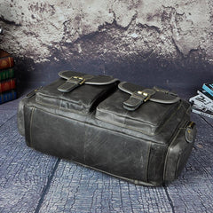 Brown Leather Travel Bag Men's 14 inches Overnight Bag Large Luggage Weekender Bag For Men
