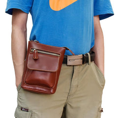 Casual Brown Leather Mini Messenger Bag Men's Belt Pouch Belt Bag Waist Pouch For Men