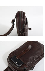 Casual Tan Leather Mens Chest Bag Sling Bag Coffee Crossbody Pack One Shoulder Backpack for Men