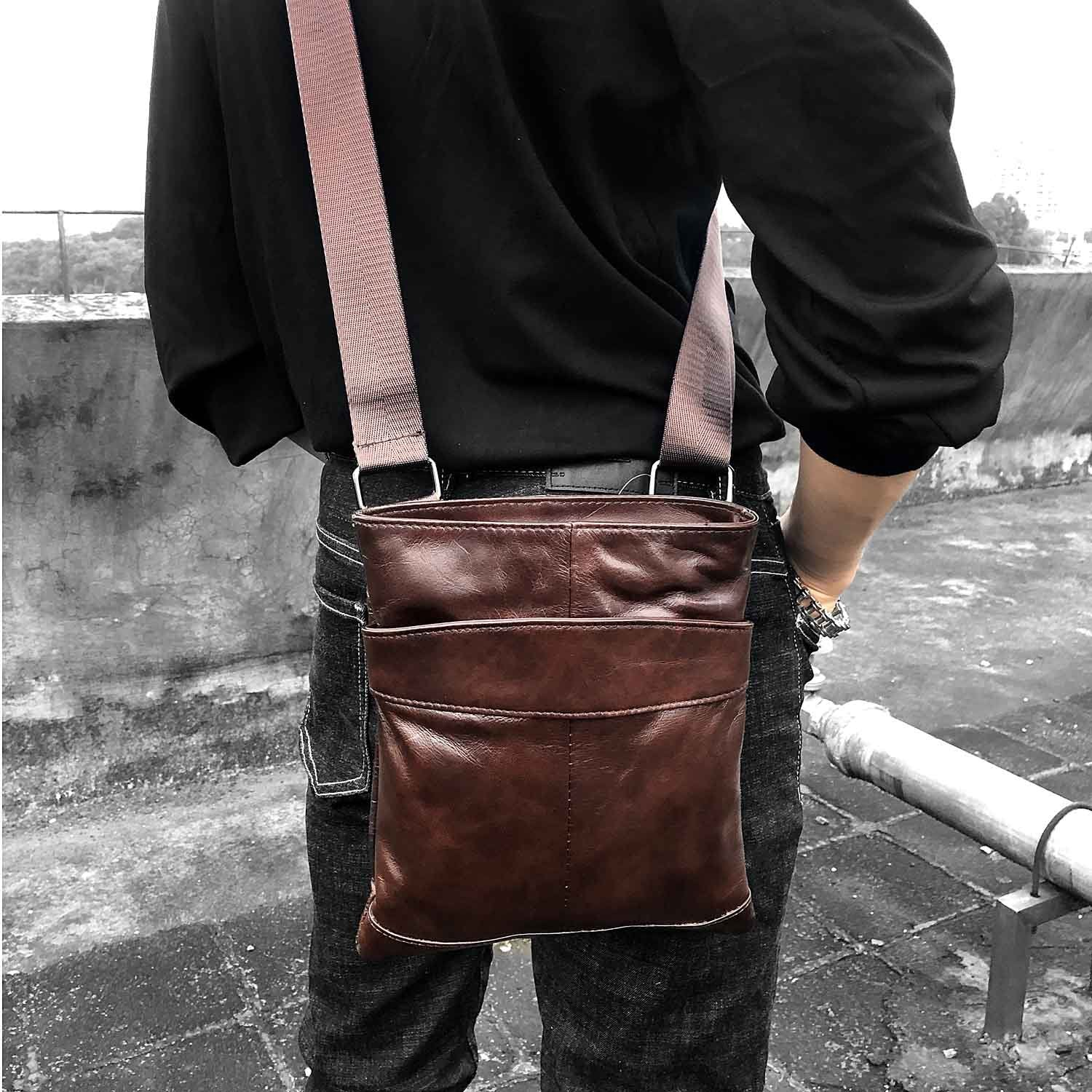 Casual Brown LEATHER MENS SMALL VERTICAL Postman BAG Brown SIDE BAGS Cool COURIER BAG MESSENGER BAG FOR MEN