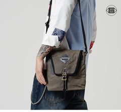 Vertical Waxed Canvas Leather Mens Gray Side Bag Messenger Bags Blue Waxed Canvas Courier Bag for Men