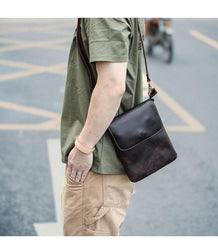 Casual Black Leather Mens Small Vertical Courier Bags Black Messenger Bags Brown Postman Bags For Men