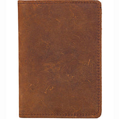 Casual Brown Handmade Leather Mens Bifold Passport Holder Travel Wallet Holder For Men