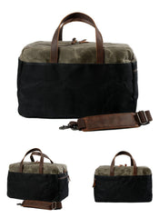 Casual Waxed Canvas Leather Mens Large Travel Weekender Bag Luggage Duffle Bag Fitness Bag for Men